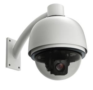 surveillance camera isolated on white background, studio shot